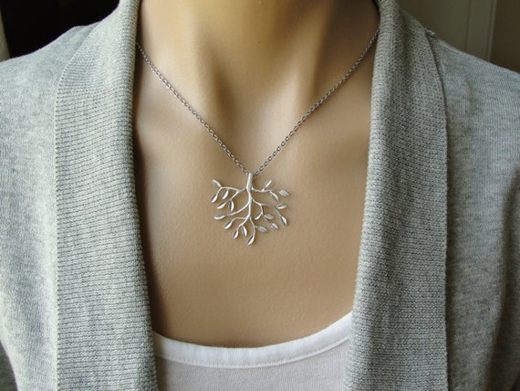 Silver Tree Necklace - gift, birthday, anniversary, botanical, wife, sister, daughter, friend, bridesmaid