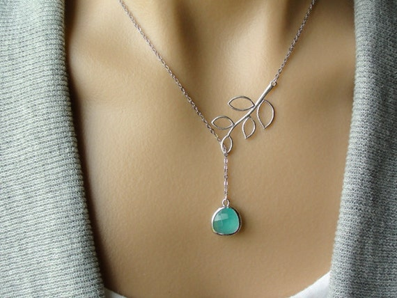 Silver Twig Lariat with Mint Opal Glass Drop - gift, wife, mother, sister, daughter, girlfriend, Christmas, bridesmaid, friend, romantic