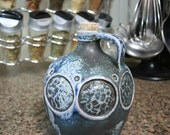 Blue Carved Salt-fired Jug with Circles