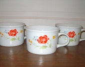 Vintage Bake N' Serve Soup Mugs Flowered
