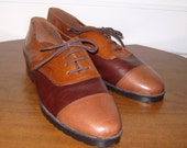 VINTAGE Oxford Loafers Whiskey Brandy Tri-Colored Shoes LEATHER (11M)