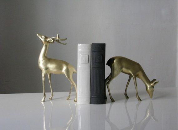 Vintage Pair of Large Brass Deer