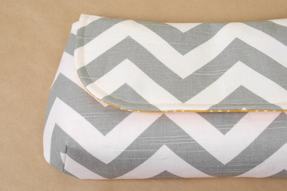 XL Classic Clutch- Gray Chevron and Modern Yellow- Ready to Ship