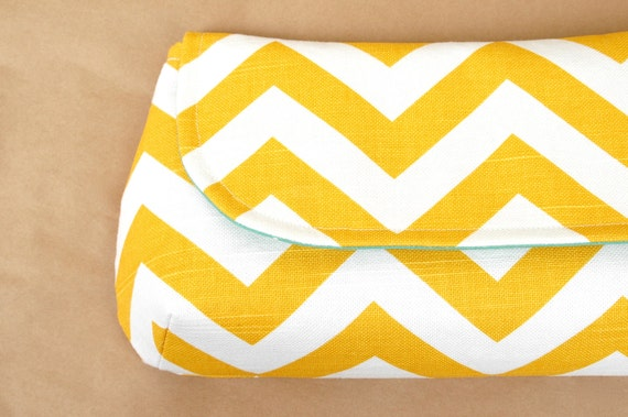 XL Classic Clutch- Sweet Mustard Yellow with Teal Polka- Made to Order (last one)