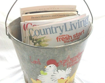 Old Bucket with painted Chicks