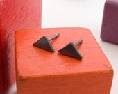 Simple Geometric Triangle Stud Earrings in Black Sterling Silver - Ready to Ship