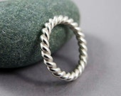 Extra Wide Unisex Twist Ring in Sterling Silver, 3mm wide - available in gold by special request