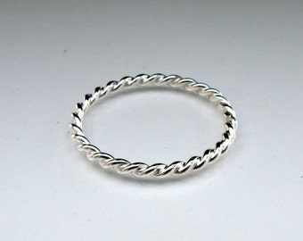 Tiny Twist Ring in Sterling Silver
