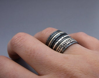 Thin Stacking Rings in Sterling Silver - Pick any 6 rings