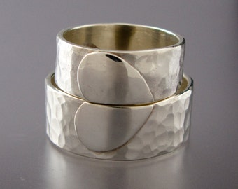 Extra Wide Heart Wedding Band Set - We Hold One Heart in Hammered Sterling Silver
