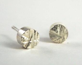 Rough Cut Geometry Circle Stud Earrings in Sterling Silver