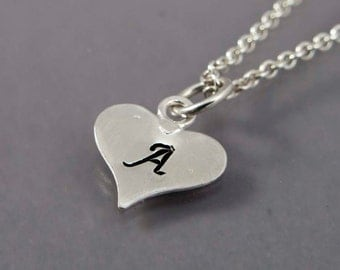 Personalized Heart Monogram Initial Necklace - Made to Order in Any Letter