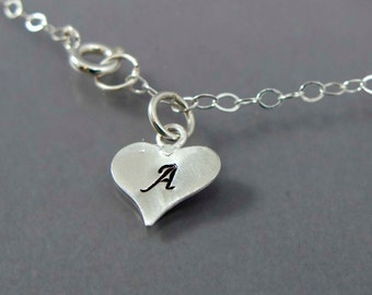 Personalized Heart Monogram Initial Chain Bracelet for Mothers, Grandmothers - Made to Order in Any Letter
