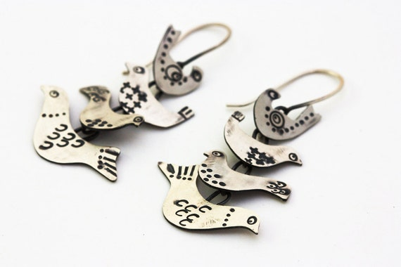 Bird Stack Earrings in Sterling Silver, Hand Stamped with a Scandinavian Folk Pattern