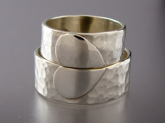 Extra Wide Heart Wedding Band Set - 7mm and 8mm One Love rings in Hammered Sterling Silver