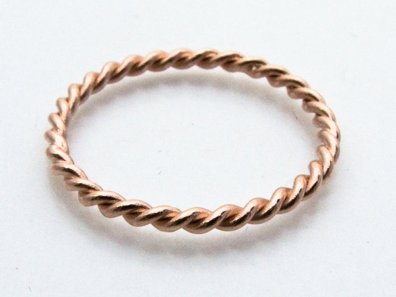 Rose Gold Twist Ring - Tiny 1.6mm Twist Ring in Solid 14k Gold