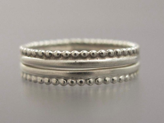 2 Crown Rings - Stacking Set of Two in Sterling Silver