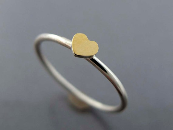 Tiny Gold Heart Valentine Ring - 14k Yellow or Rose Gold and Sterling Silver Skinny Stacking Ring