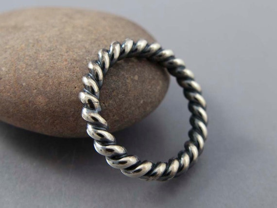 Extra Wide Unisex Twist Ring in Black Oxidized Sterling Silver, 3mm wide