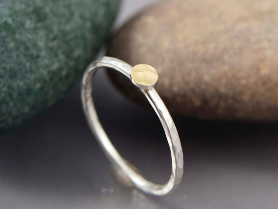 Tiny Hammered Gold Dot Ring - 18k Gold Circle and Sterling Silver Skinny Stacking Ring