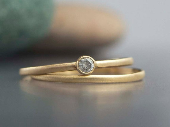 Tiny Diamond and 14k Yellow Gold Engagement and Wedding Band Set
