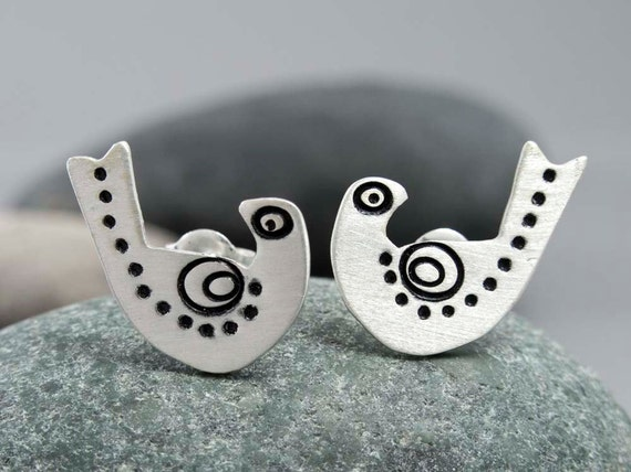 Sterling Silver Scandinavian Folk Bird Stud Earrings, Dotty Sparrows - Ready to Ship
