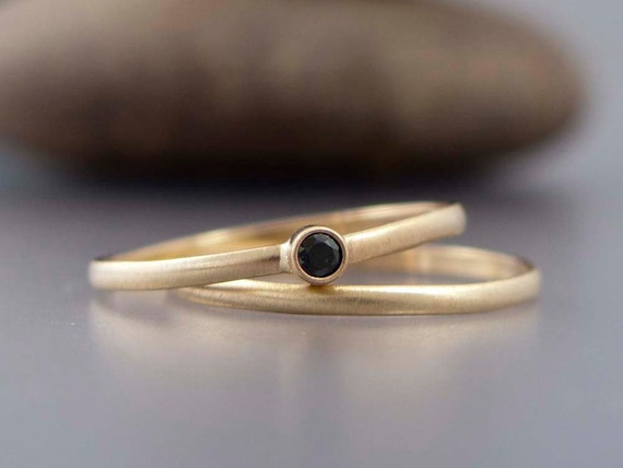 Gold and Black Diamond Wedding Ring Set - Tiny Diamond Engagement Ring and Wedding Band in solid 14k yellow or white gold
