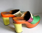 SALE // vintage 60s/70s color block clogs // leather // groovy far-out style // size 8 ish // reduced from 65.00