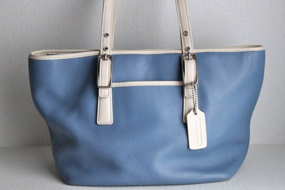 RESERVED // vintage COACH Legacy Market Tote in blue and white // 9847