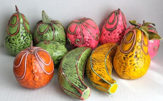 SALE // vintage 60s ARDCO paper mache fruit // bright // 10 pieces // was 35.00