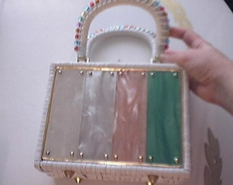 Lucite Plastic Box Purse- Adorable c. 1960s - Adorable