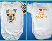 Family Pet Big Brother or Big Sister Custom Painted Baby Shirt