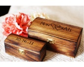 Rustic Keepsake Nesting Ring Boxes or Ring Bearer boxes with latch