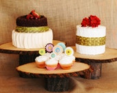 Set of three rustic wood cake stands at varied heights