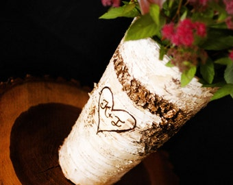 Birch Bark Vase, Wedding centerpiece with personalization, Rustic Woodland Wedding