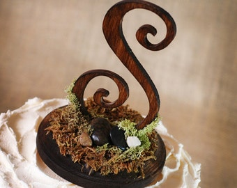 Rustic Wooden Monogram Cake topper woodsy, woodland, rustic