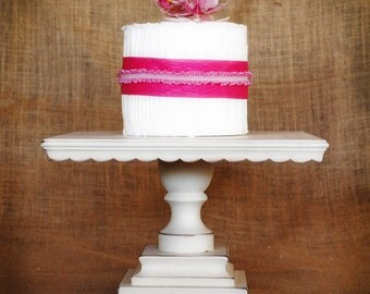 "14"" Square Shabby Chic White Pedestal Antiqued Cake Stand -  any color available"