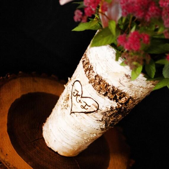 Birch Bark Vase, Wedding centerpiece with personalization, Rustic Woodland Wedding