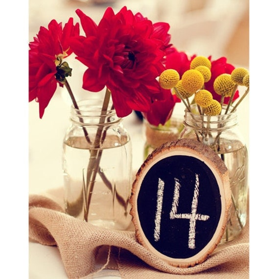Tree Slice Chalkboard Table Numbers - purchase any qty you need