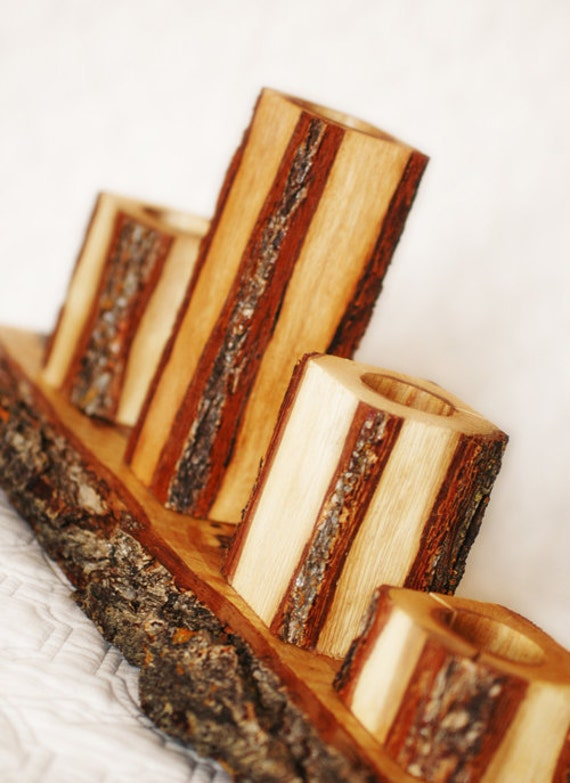 Rustic Candle Set of 3 candles with rustic slab base, Unity Candle set
