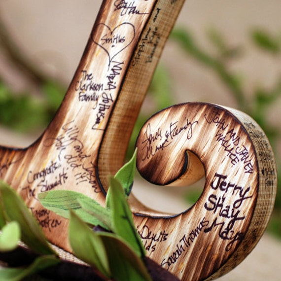 Wooden Guest Book Letter with Twig Style Pen - Any letter available- rustic, woodland, personalized wedding