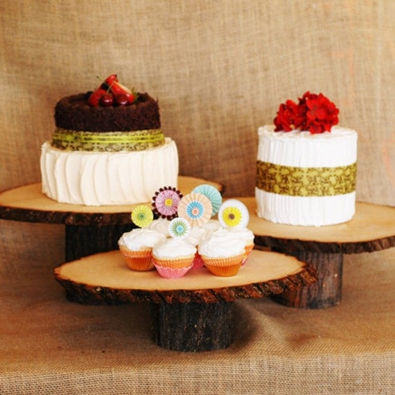 Rustic Wedding Wood Cake Stand: Set Of Three Rustic Wood Cake Stands At Varied Heights
