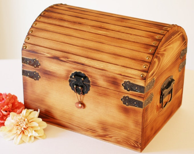 Small Rustic Personalized Card Box for Wedding Cards or Money. Lockable with Card Slot.
