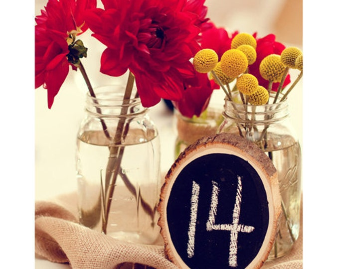 Tree Slice Chalkboard Table Numbers - Purchase any quantity you need