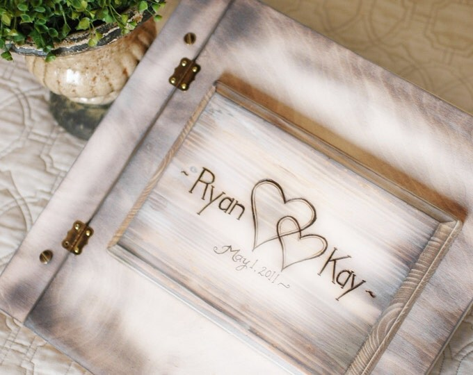 Shabby Chic Rustic Wedding Album or Guest Book with Personalized burned engraving