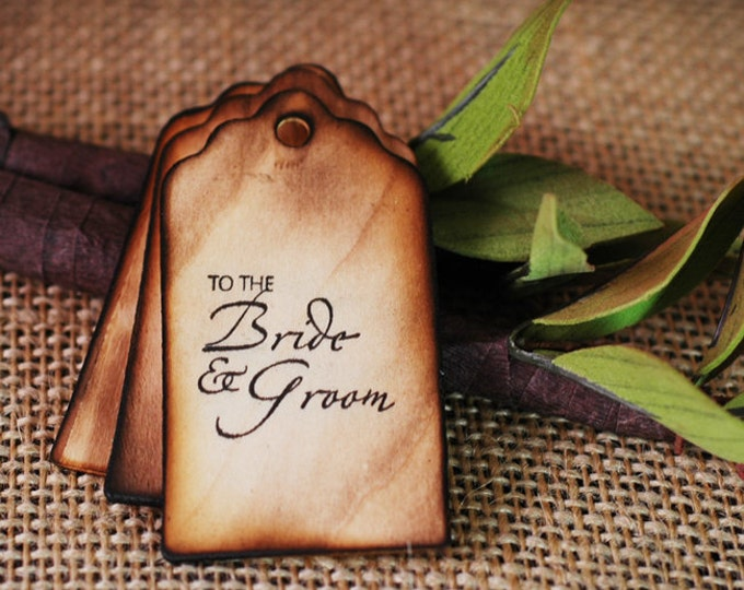 40 Wooden Wishing Tree Tags 'To the Bride and Groom' with Rustic Twig Pen