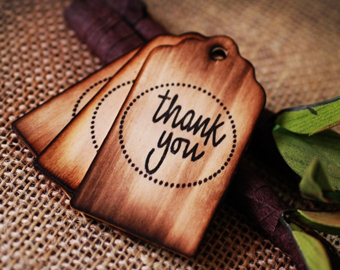 100 Personalized Wooden Wishing Tree Tags 'Thank You' with Rustic Twig Pen