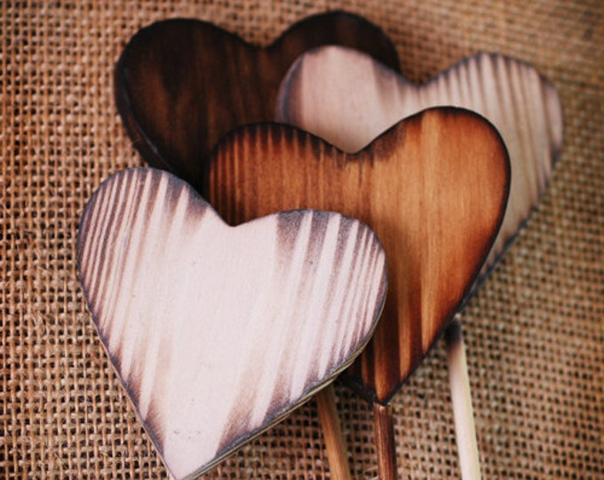 3 Rustic Heart Wands, wedding favors, woodland, rustic wedding