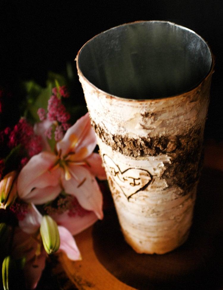 Birch bark vase wedding centerpiece with personalization