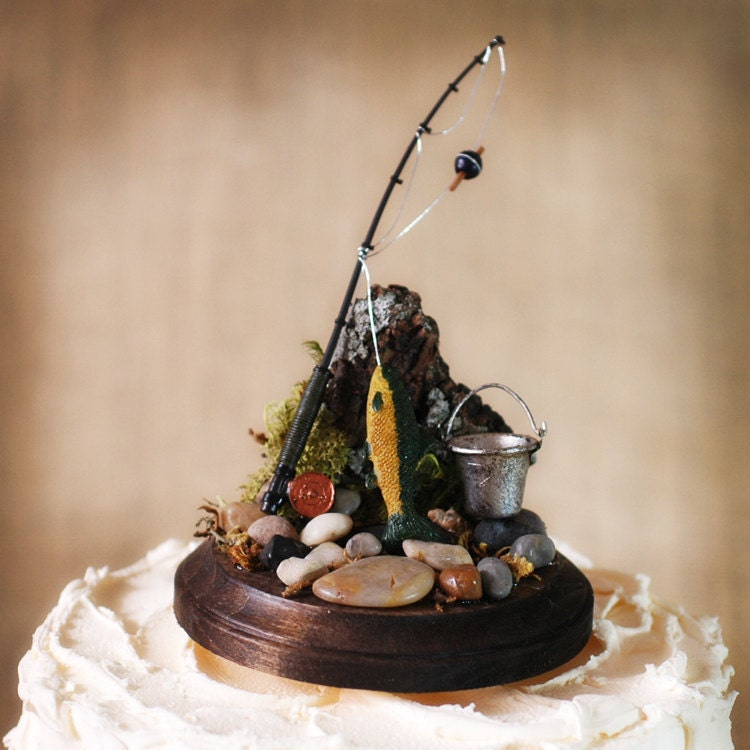Rustic Fishing theme Groom Cake topper woodsy woodland